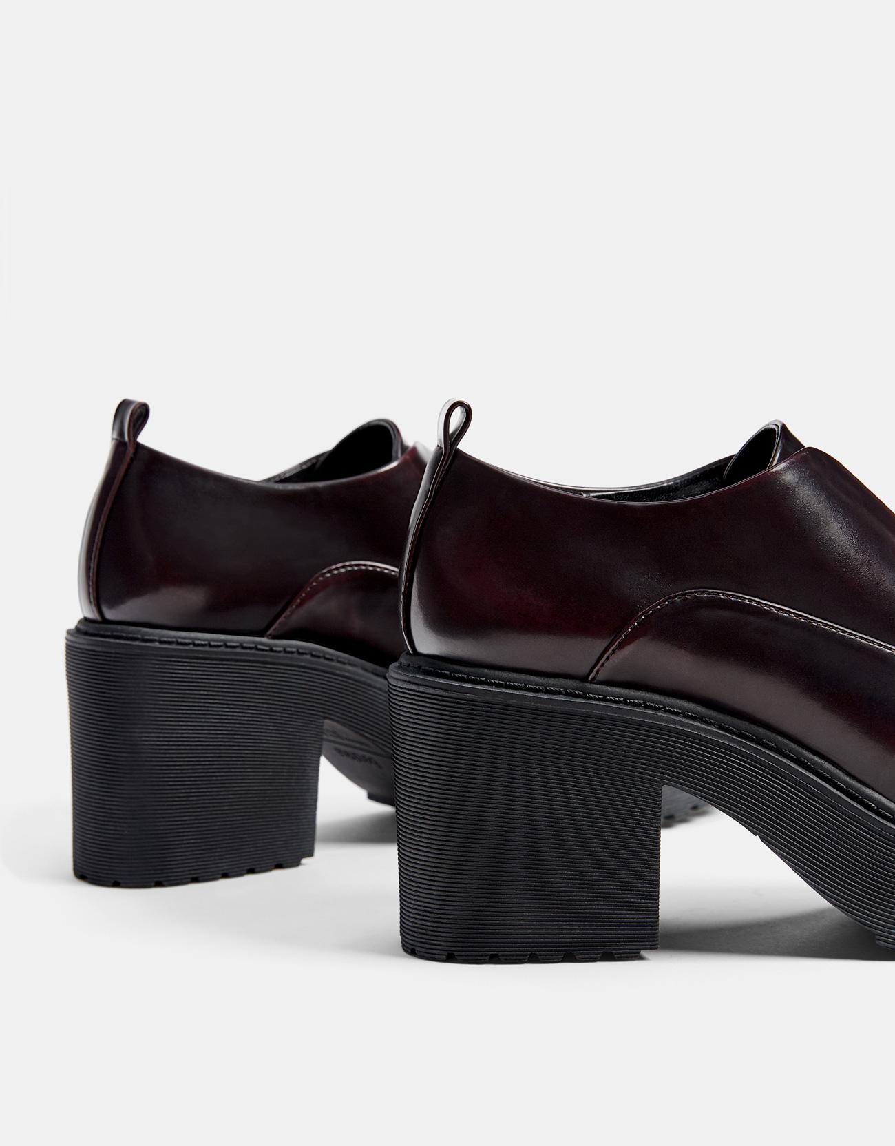 e3810bf25af7 Maroon platform derby shoes - Heels - Bershka Malaysia