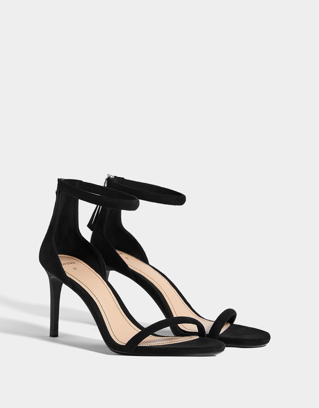 High-heel tubular sandals with ankle strap