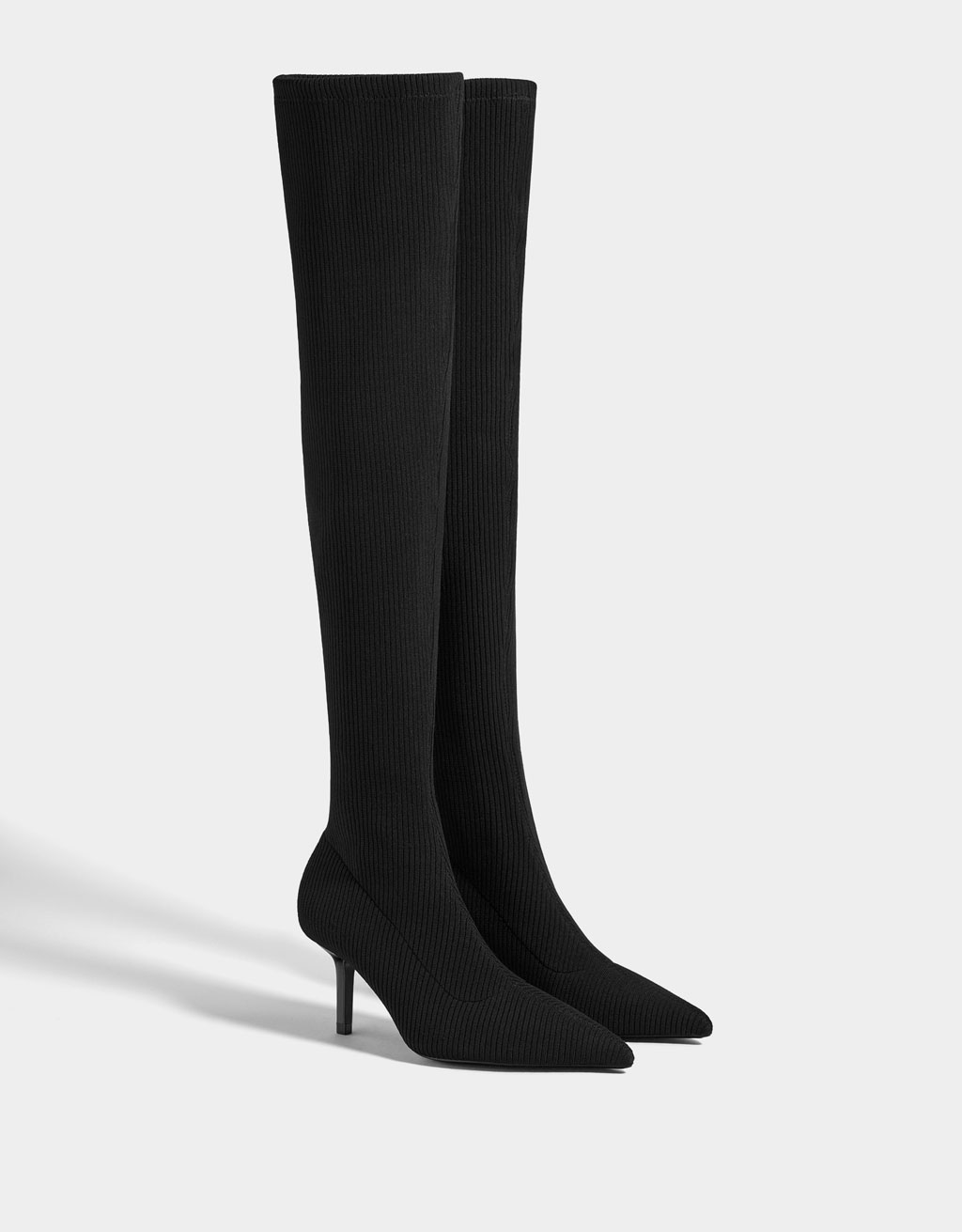 Sock-style boots with stiletto heels
