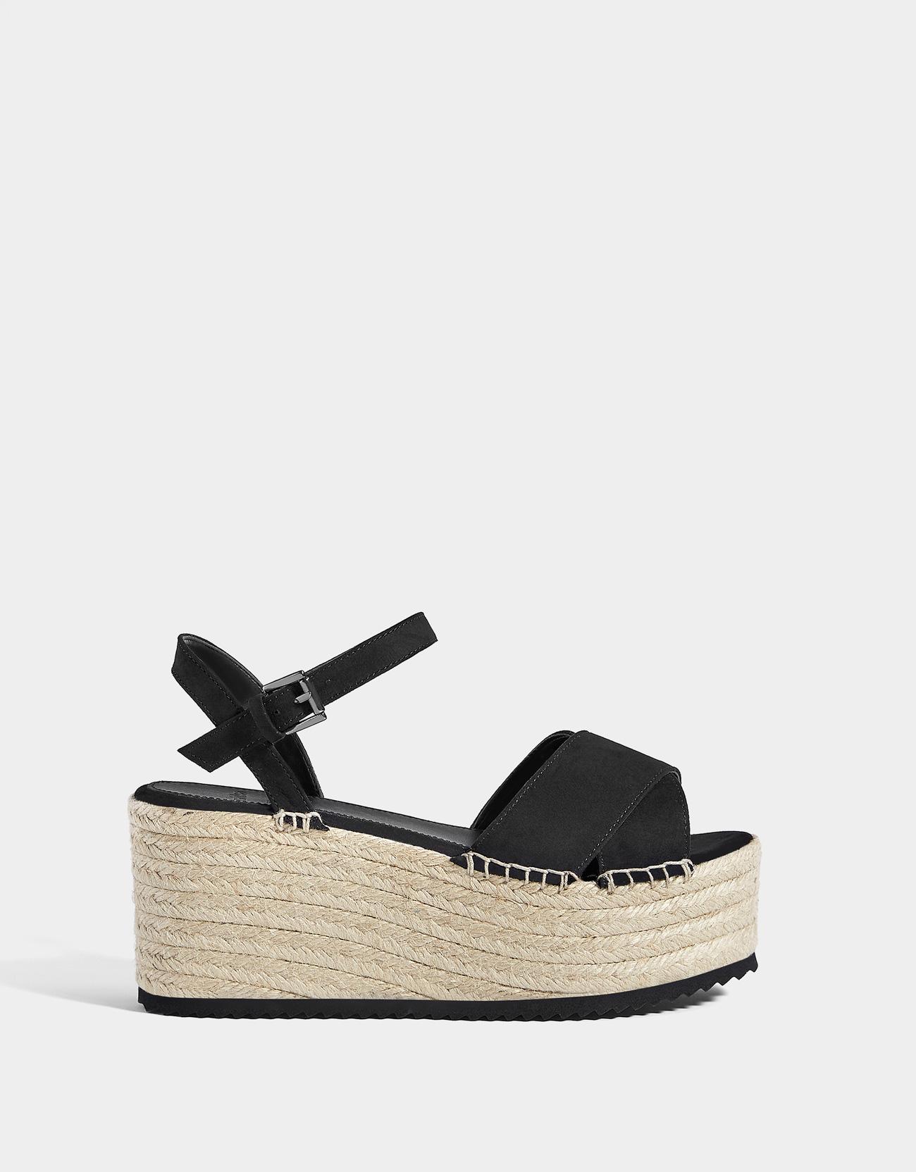 51e43caed50b Black jute platform sandals - Platforms - Bershka France