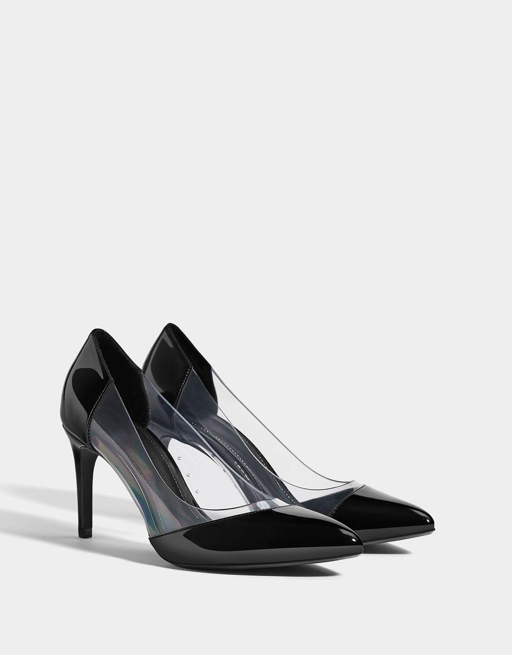 Vinyl block-heel mules