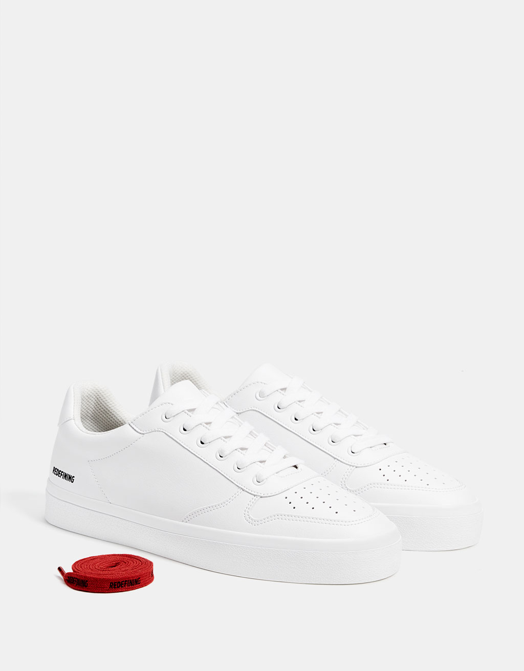 Men's white monochrome sneakers with slogan