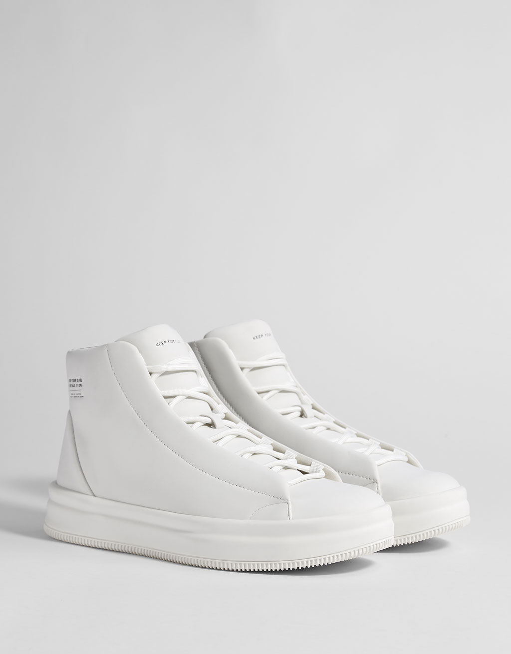 Men's white high-top trainers