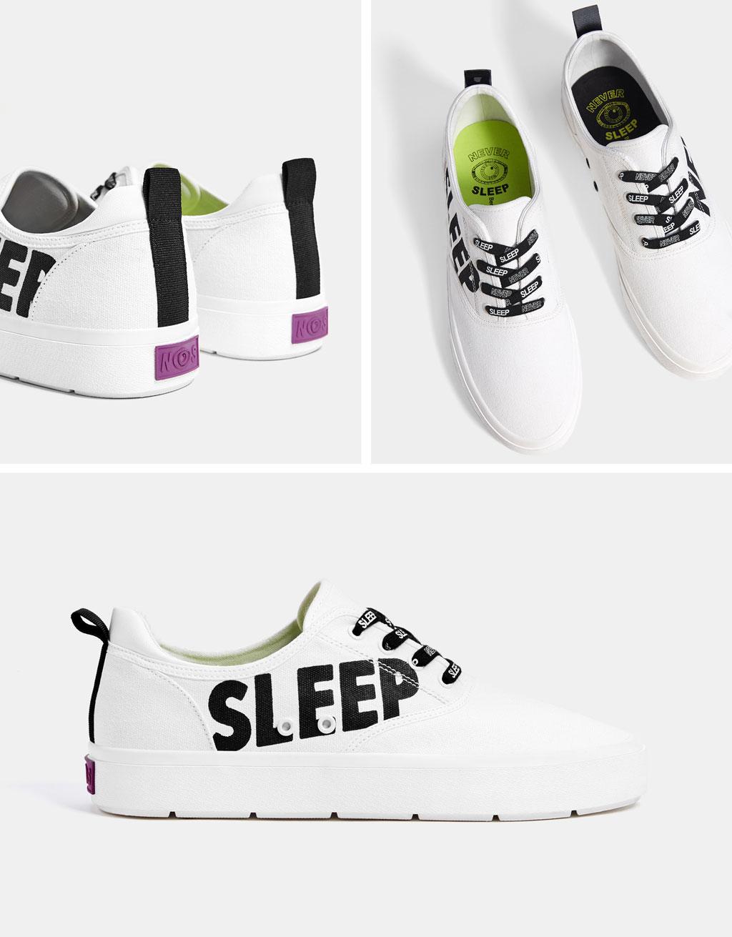Pánské lehké textilní boty s nápisem