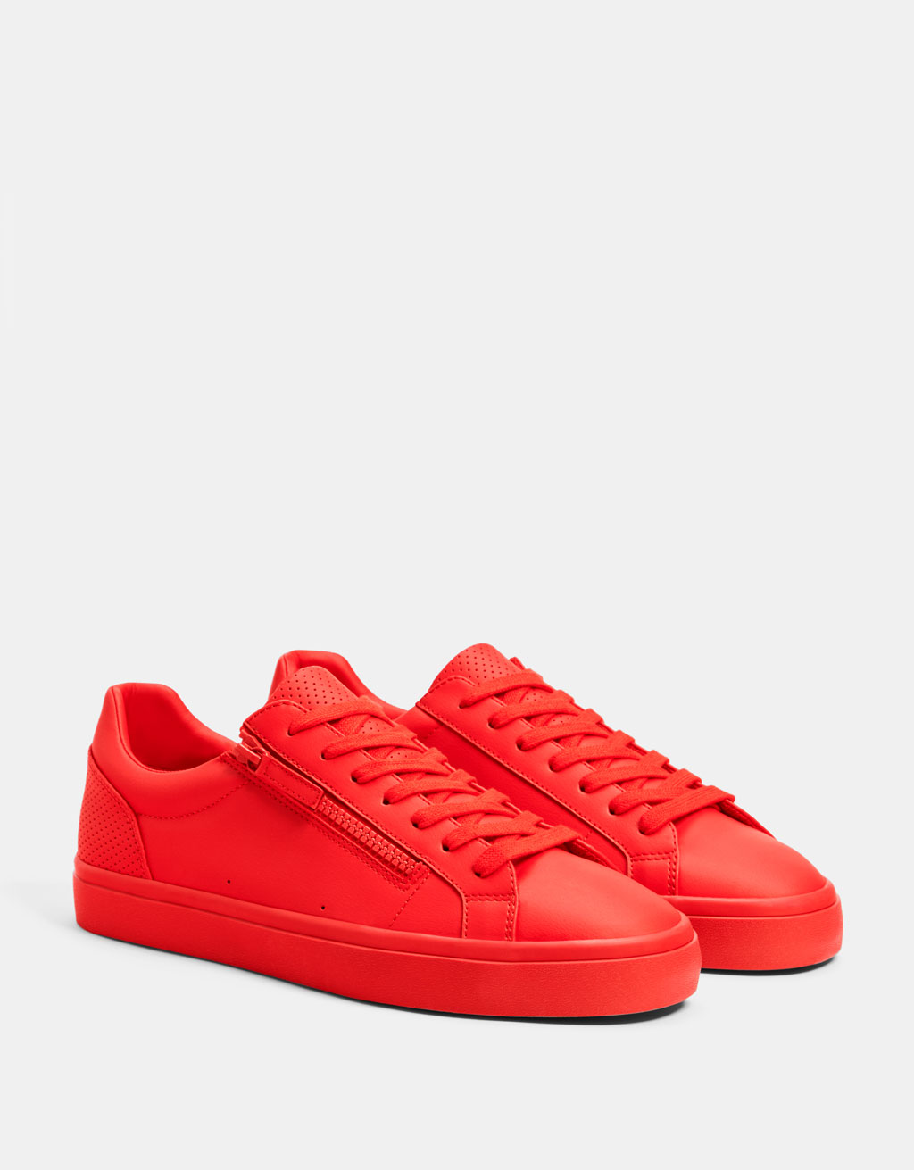 Men's red sneakers with zip