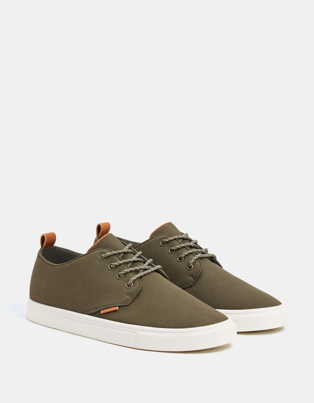 Men's khaki smart trainers