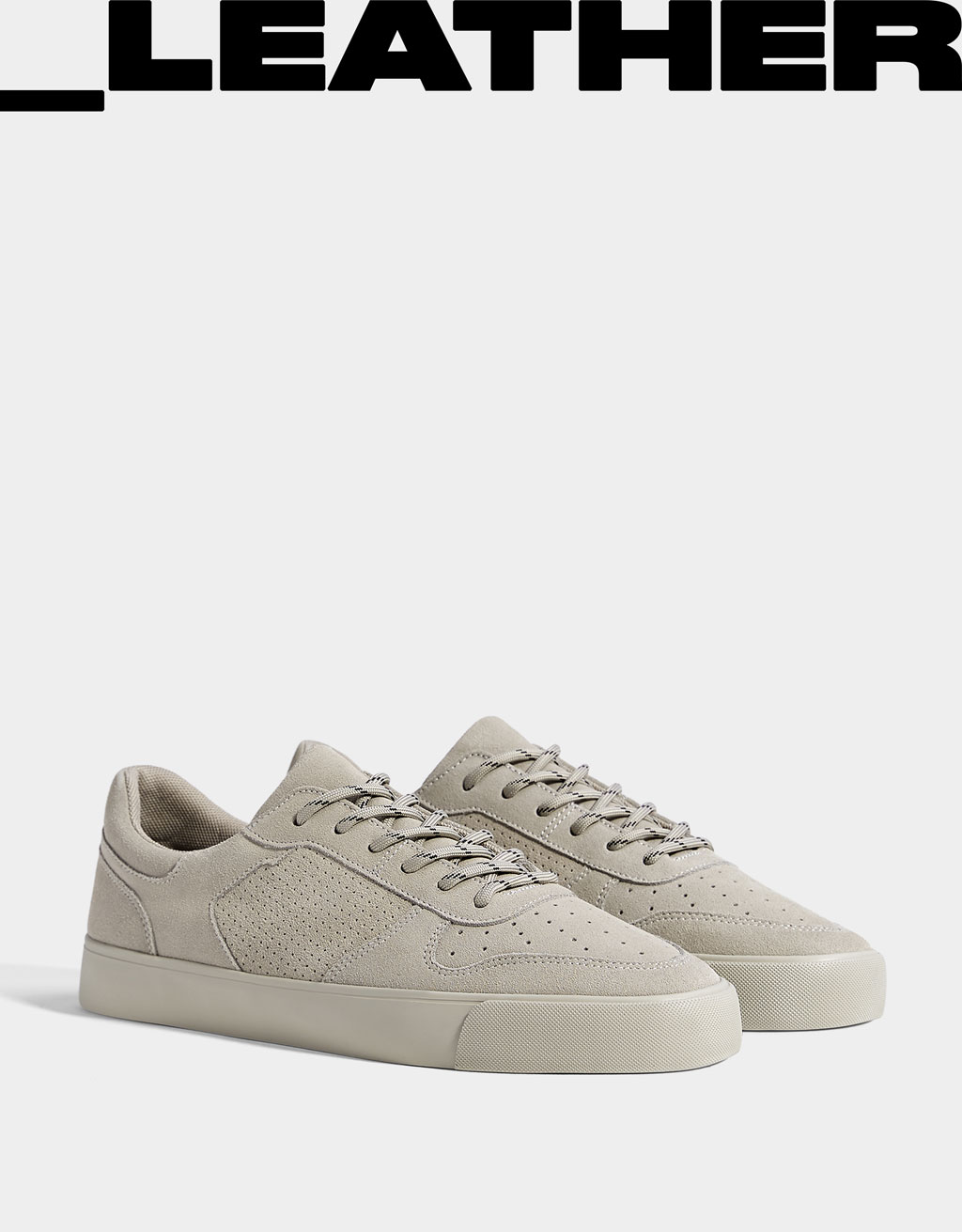 Men's leather trainers with broguing