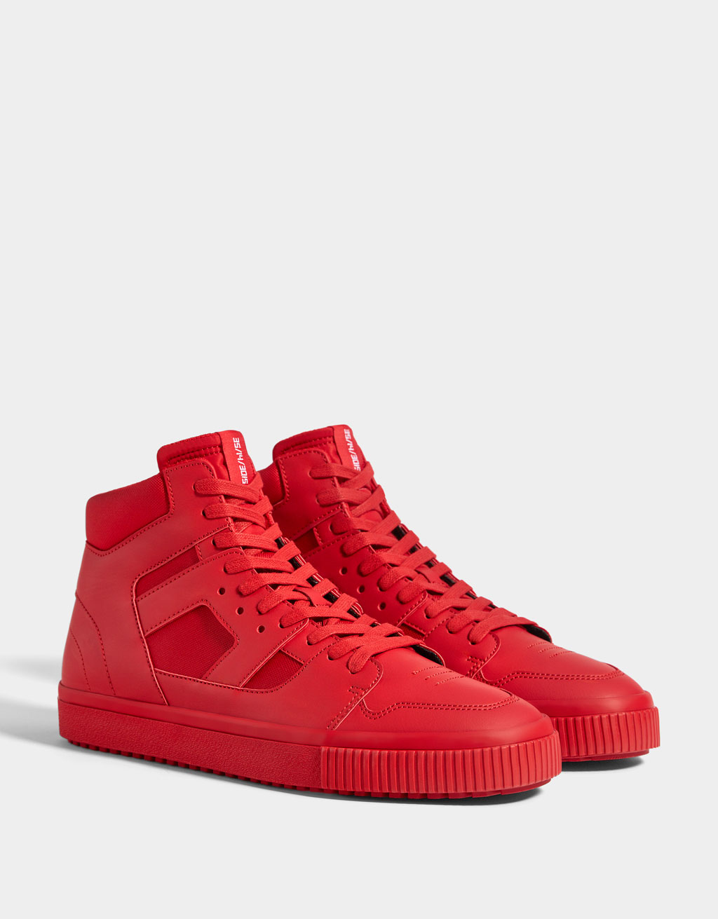 Men's red high-top trainers