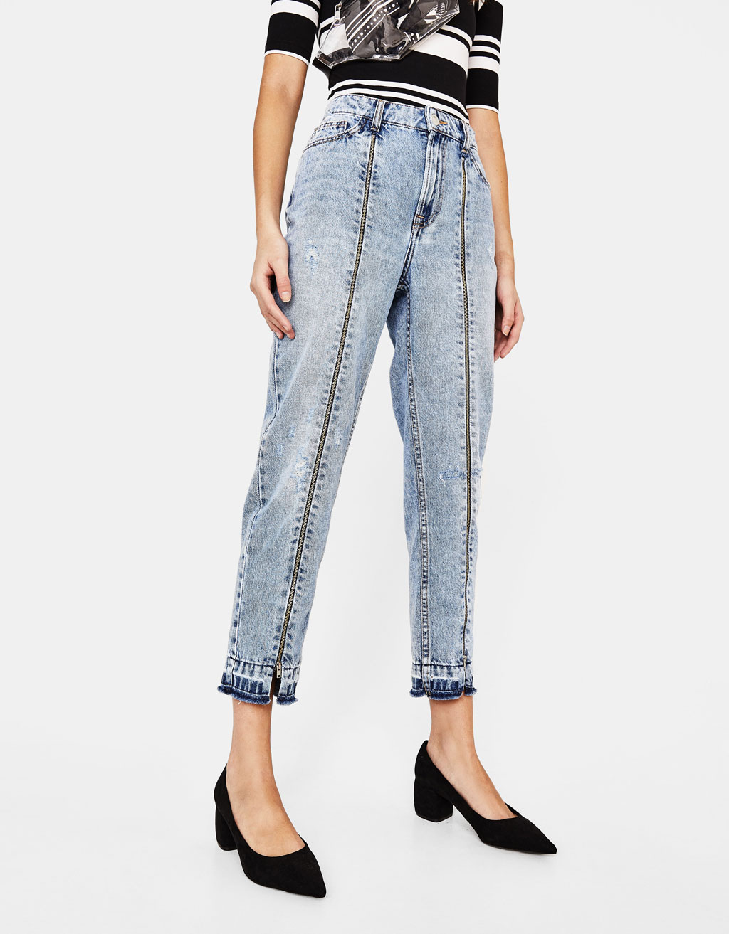Mom fit jeans with zippers