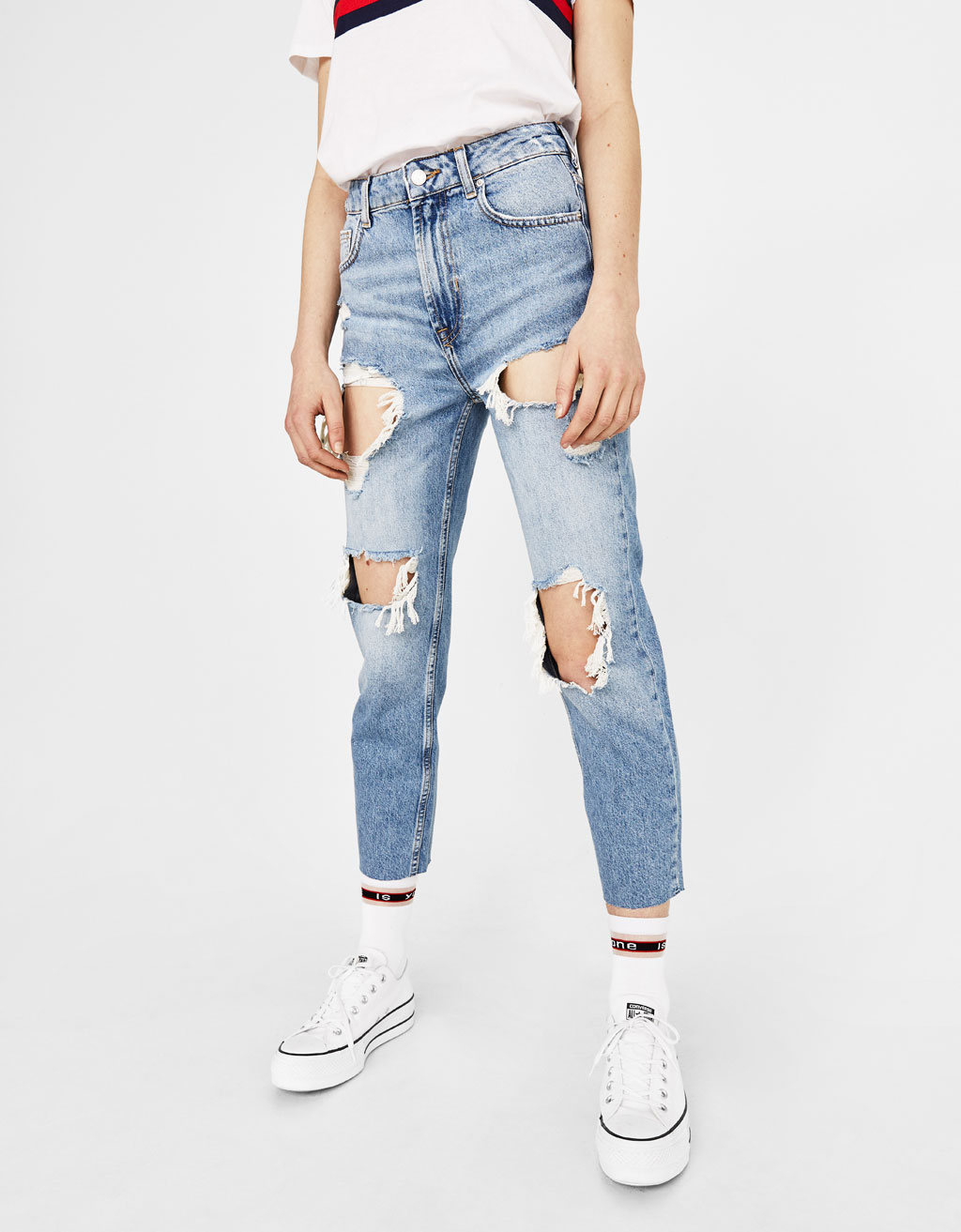 Straight super high-rise jeans
