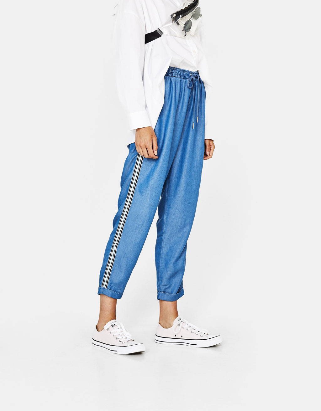Tencel® pants with side stripes