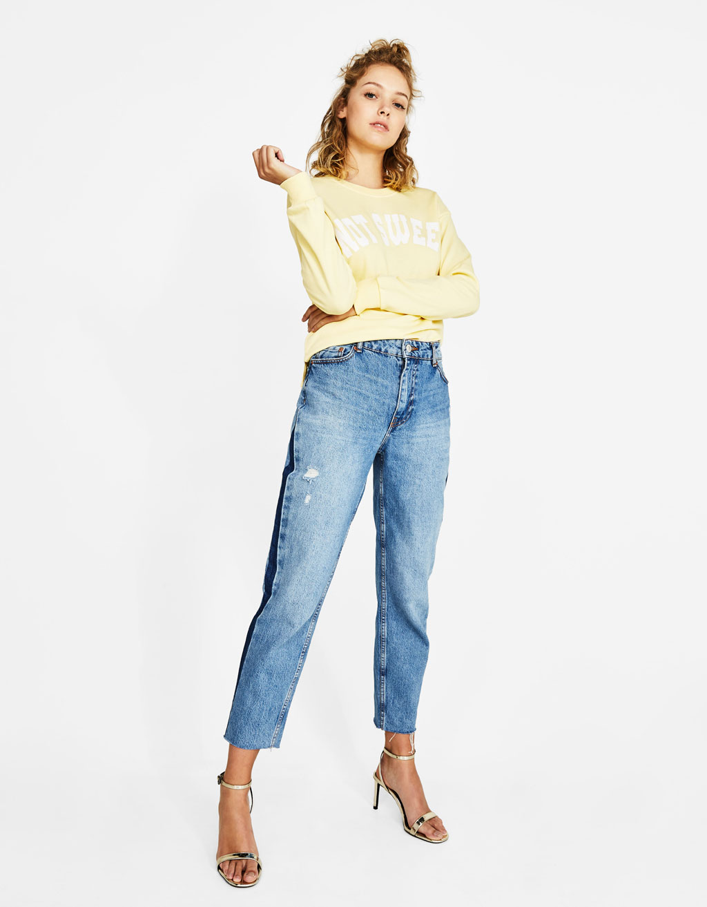 Mom jeans with side detail