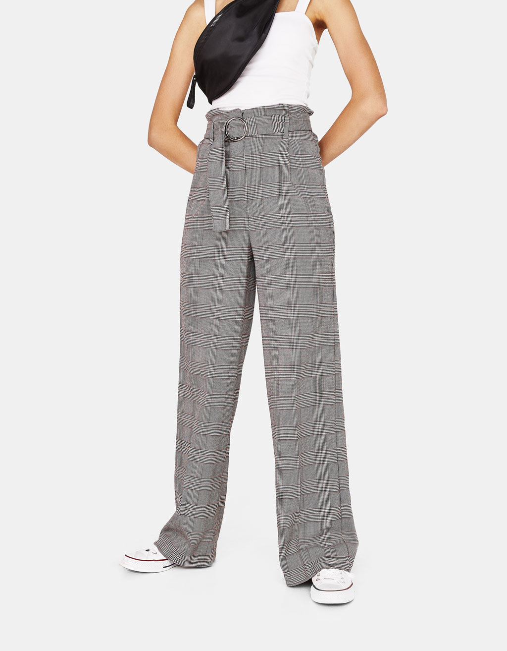 Checked wide-leg trousers with belt