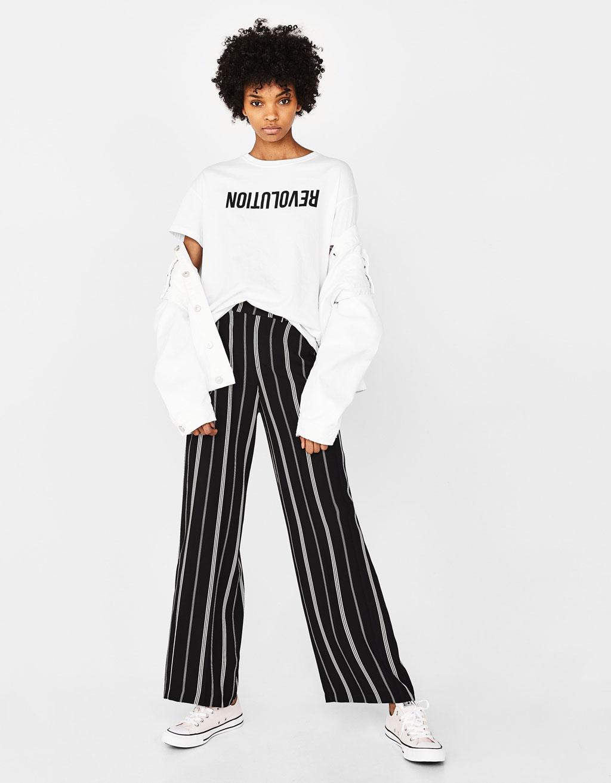 Pantalón ancho con banda lateral