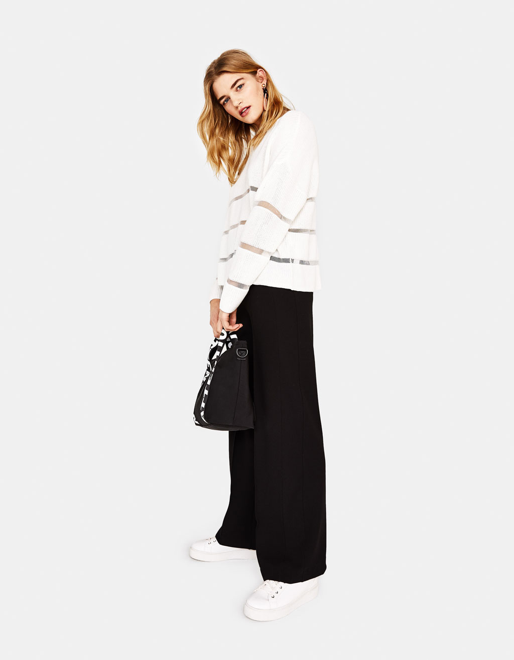 Wide-leg pants with side stripes