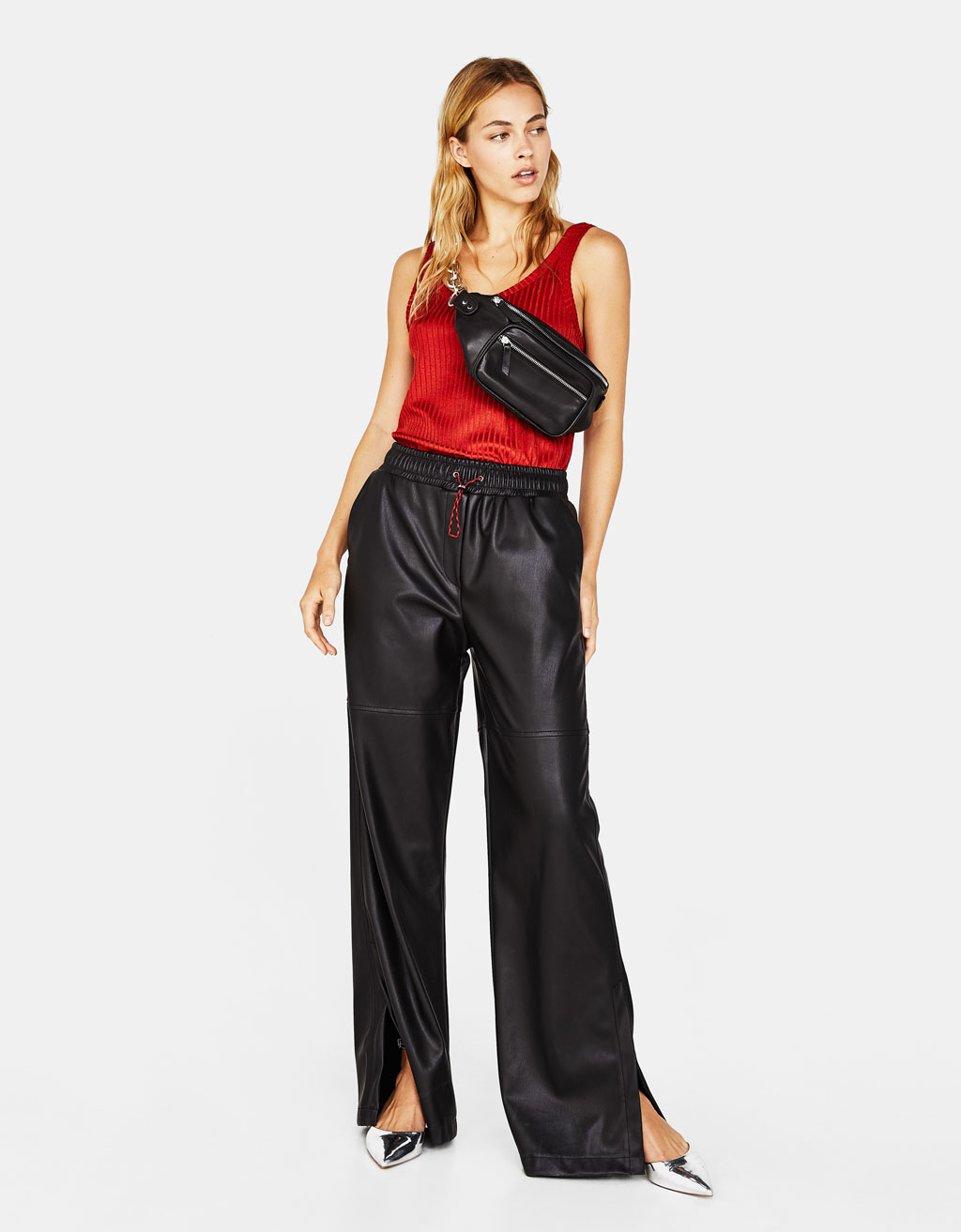 Faux leather wide-leg trousers