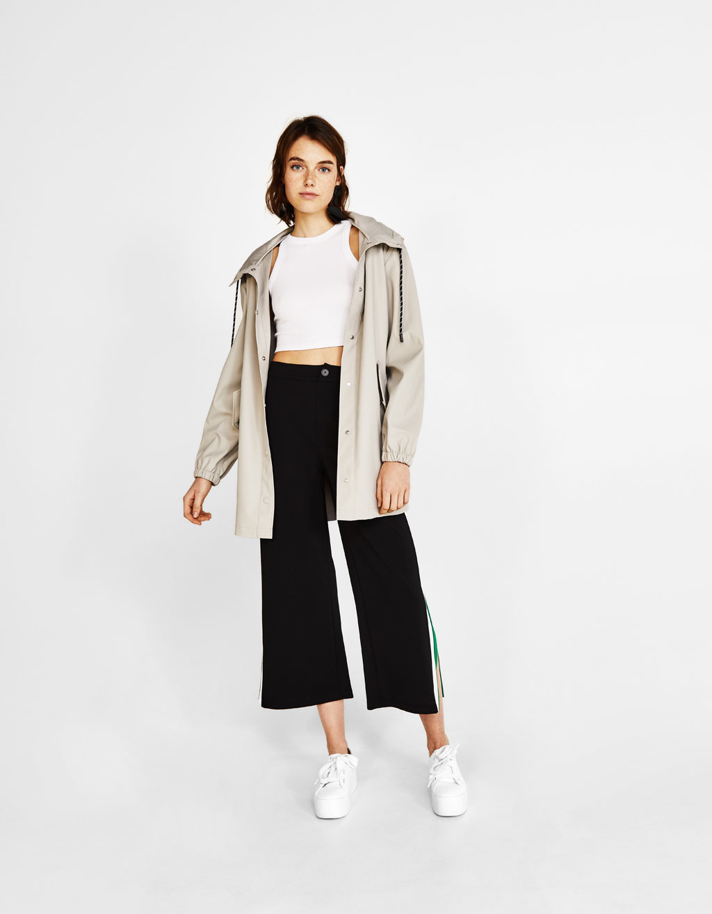 Culottes with side stripes