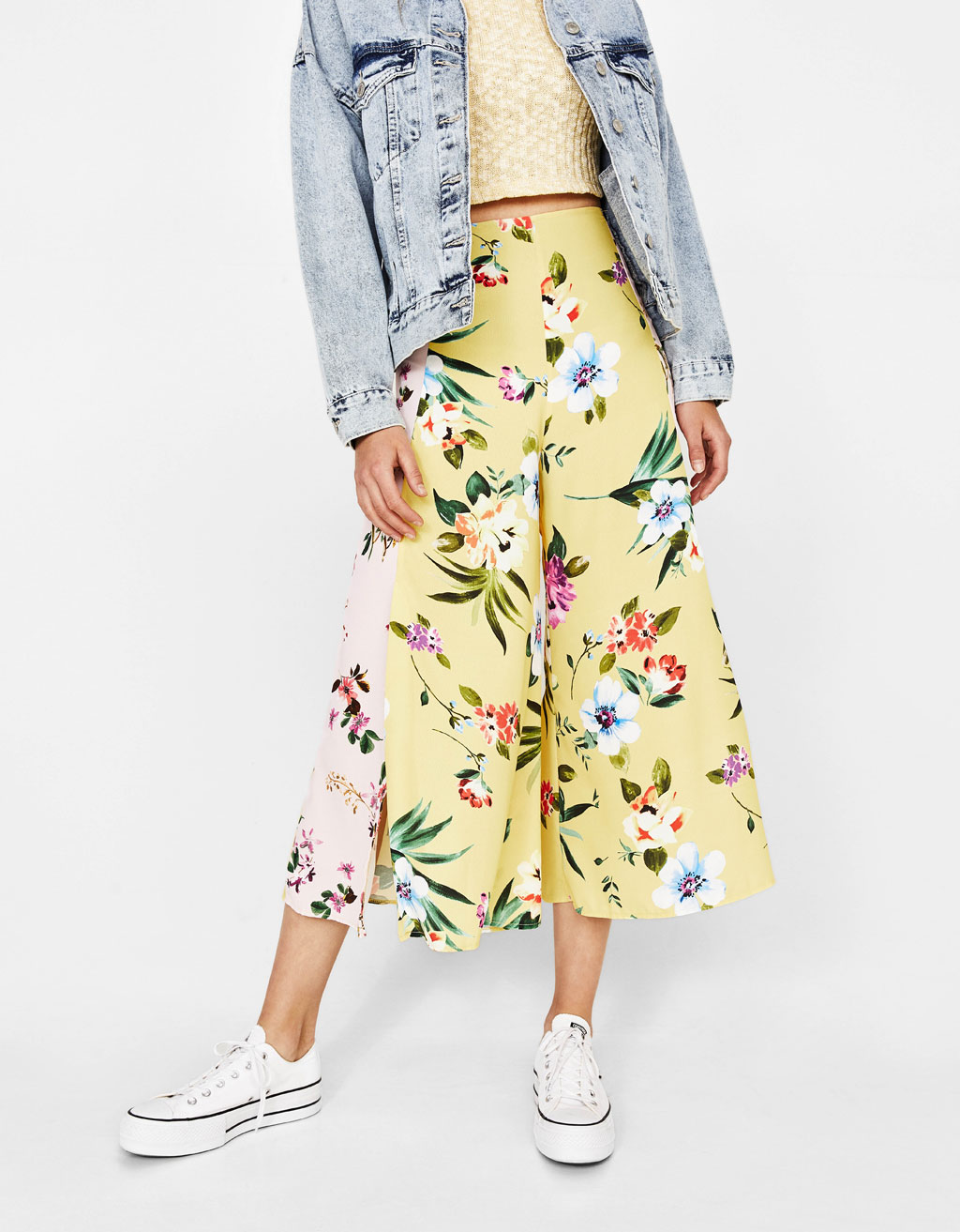 Culottes with contrasting floral prints