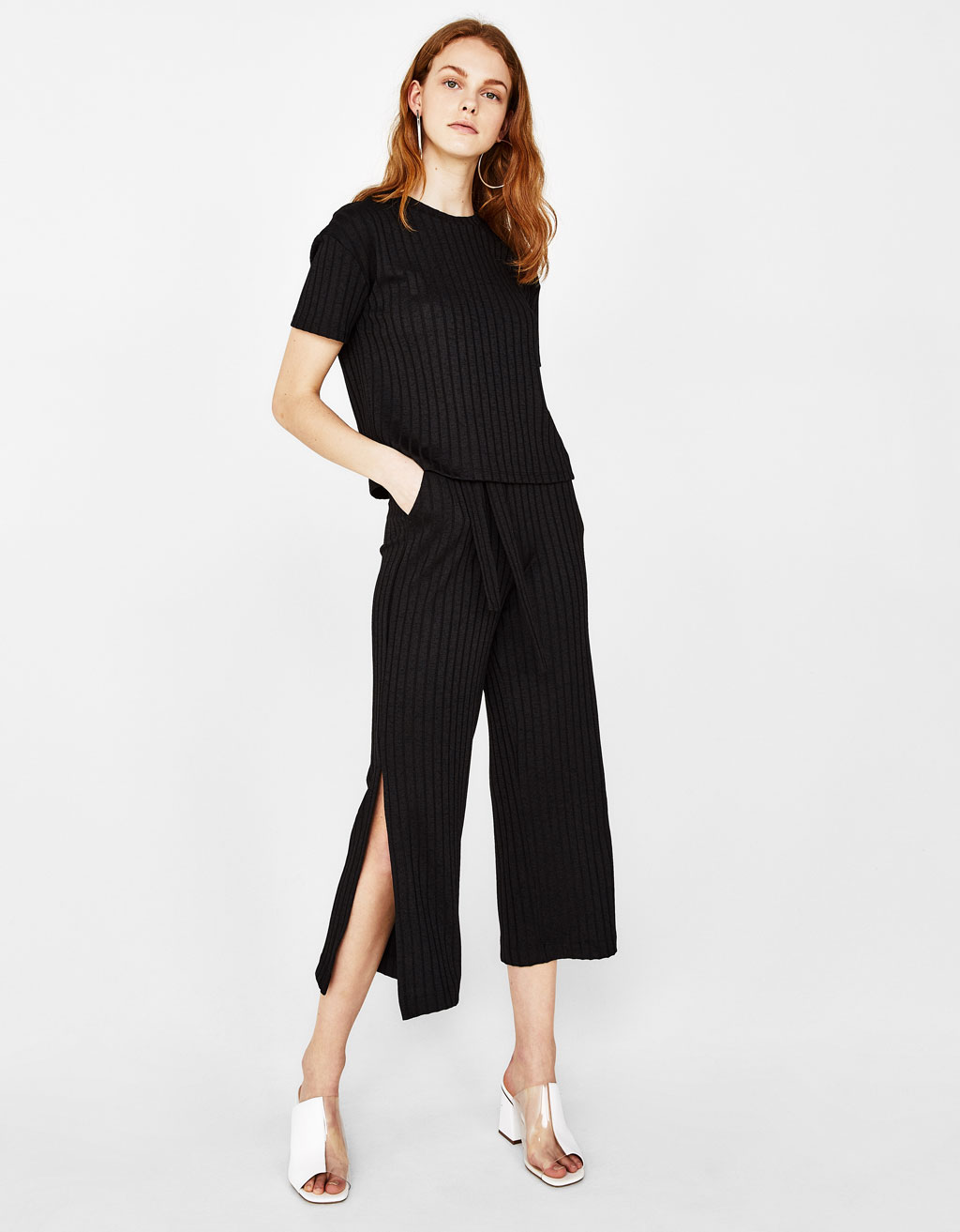 Ribbed culotte trousers