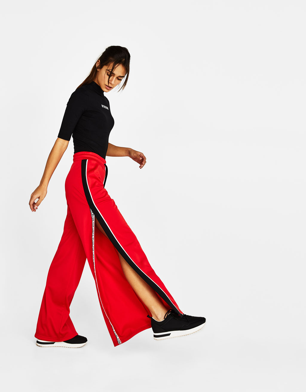 Wide-leg sports trousers with slits
