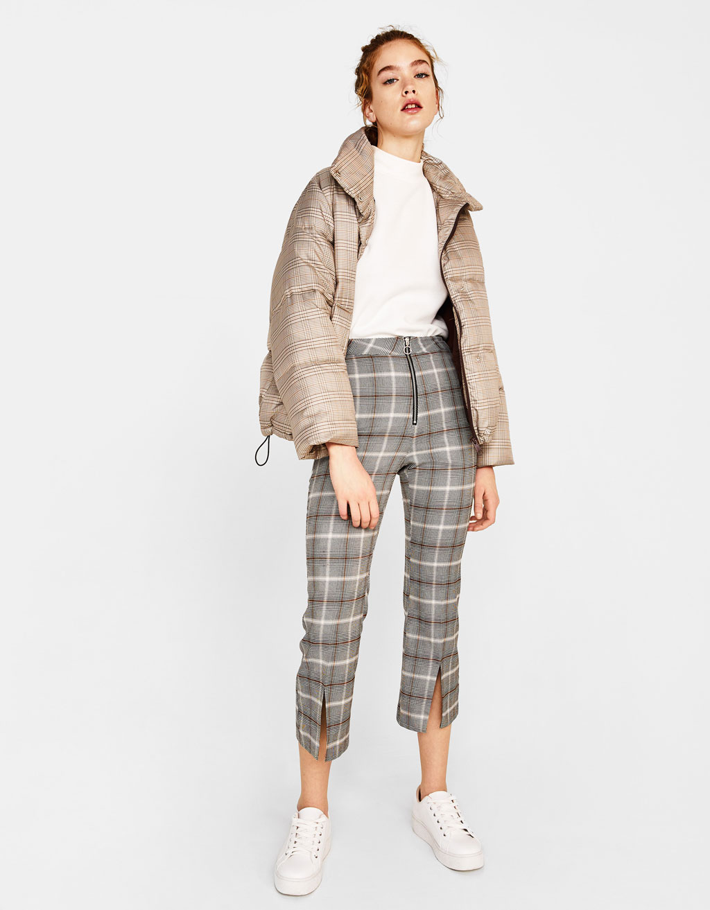 Flat-stitched checked kick flare trousers
