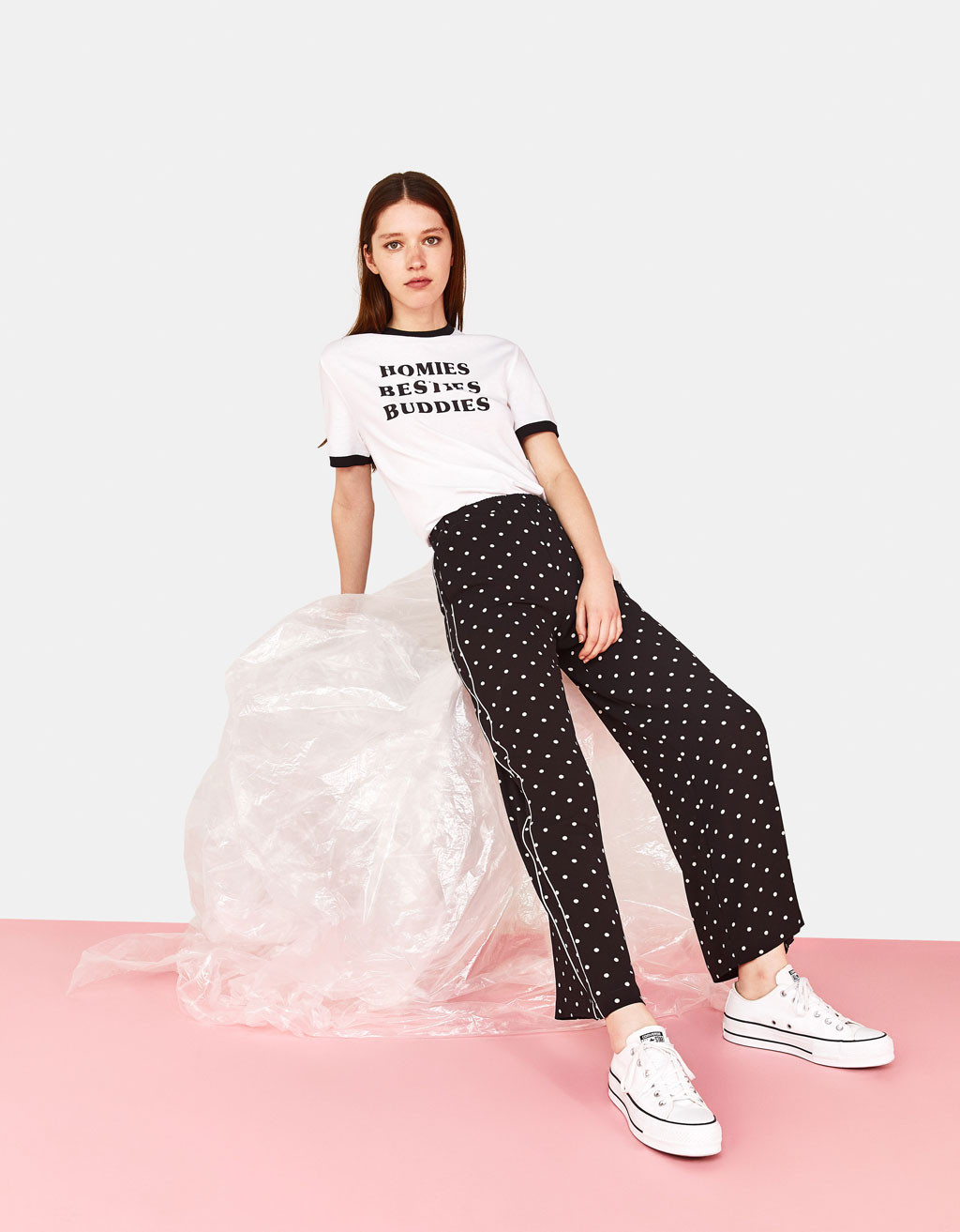 Wide-leg polka dot trousers