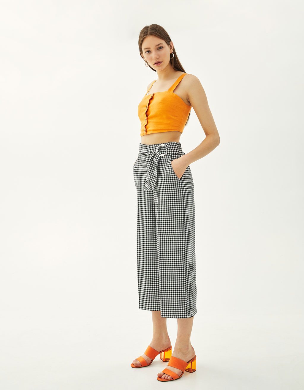 Checked culottes with buckles