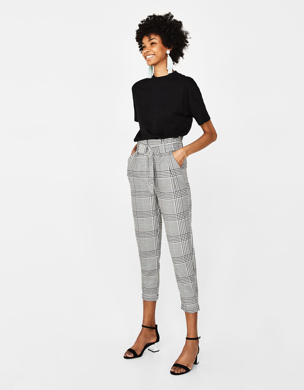 Plaid paperbag pants