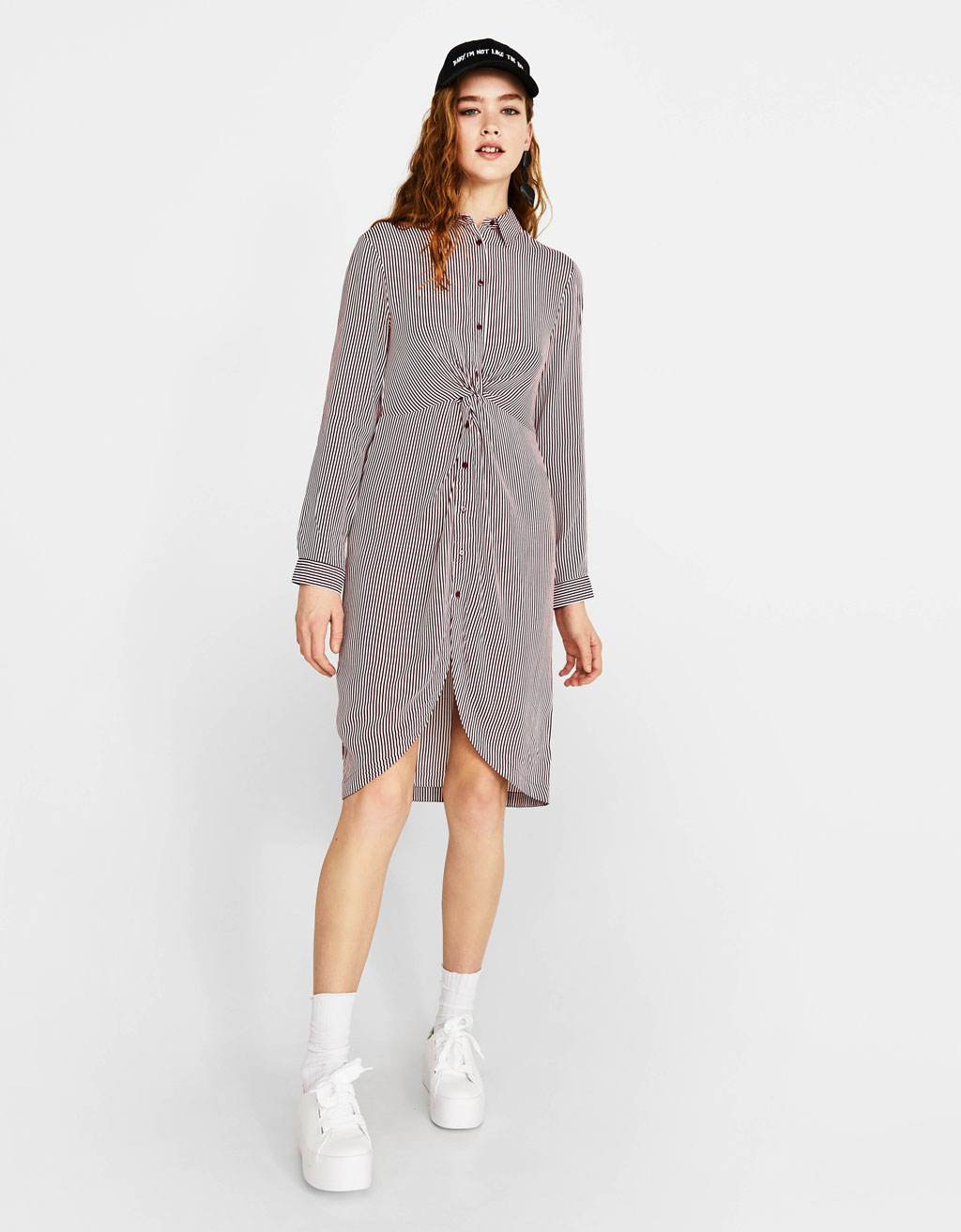 Shirt dress with knot