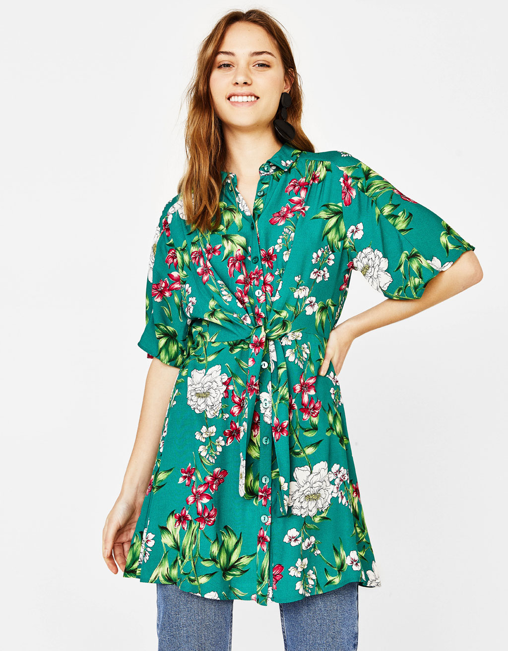 Printed short shirt dress