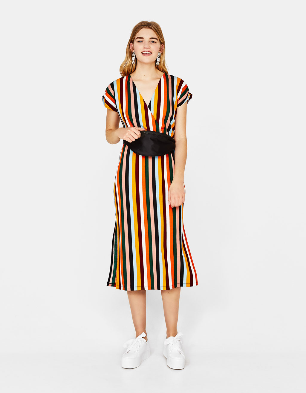 Striped dress with belt