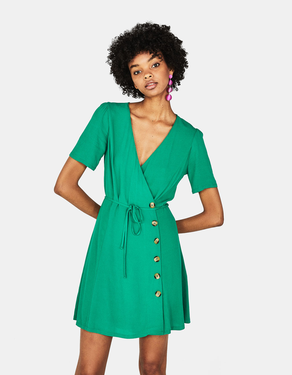 Crossover neckline dress