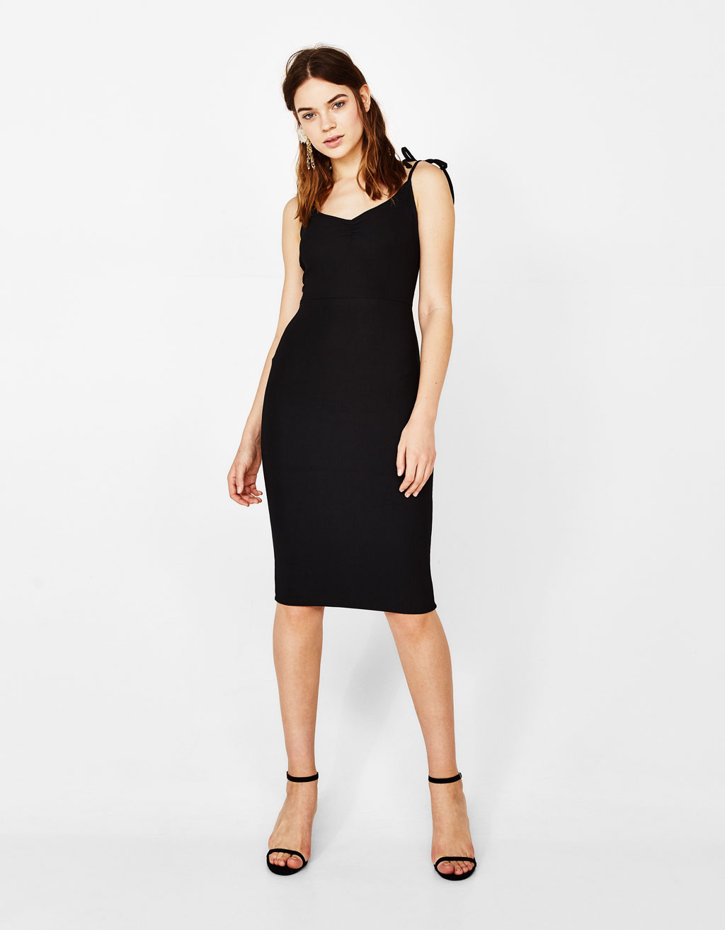 Midi dress with tied straps