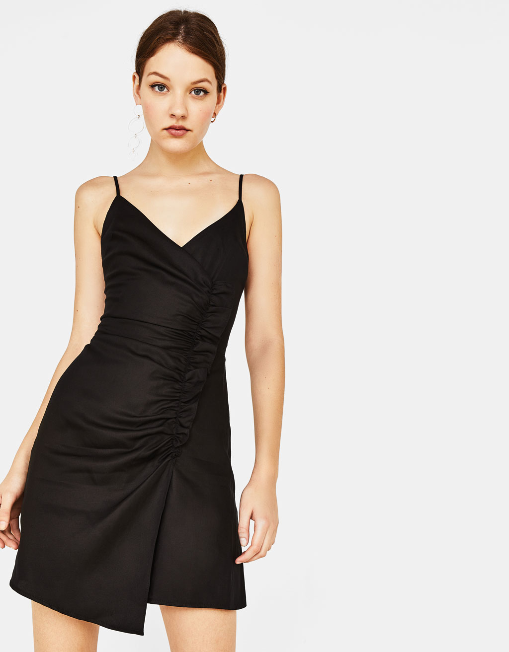 Asymmetric dress with ruffle trim
