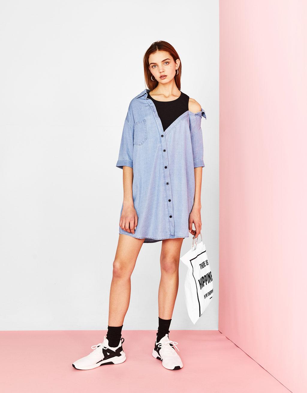 Denim dress with vest top