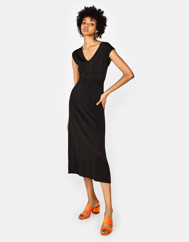 V neck maxi dress ukuran