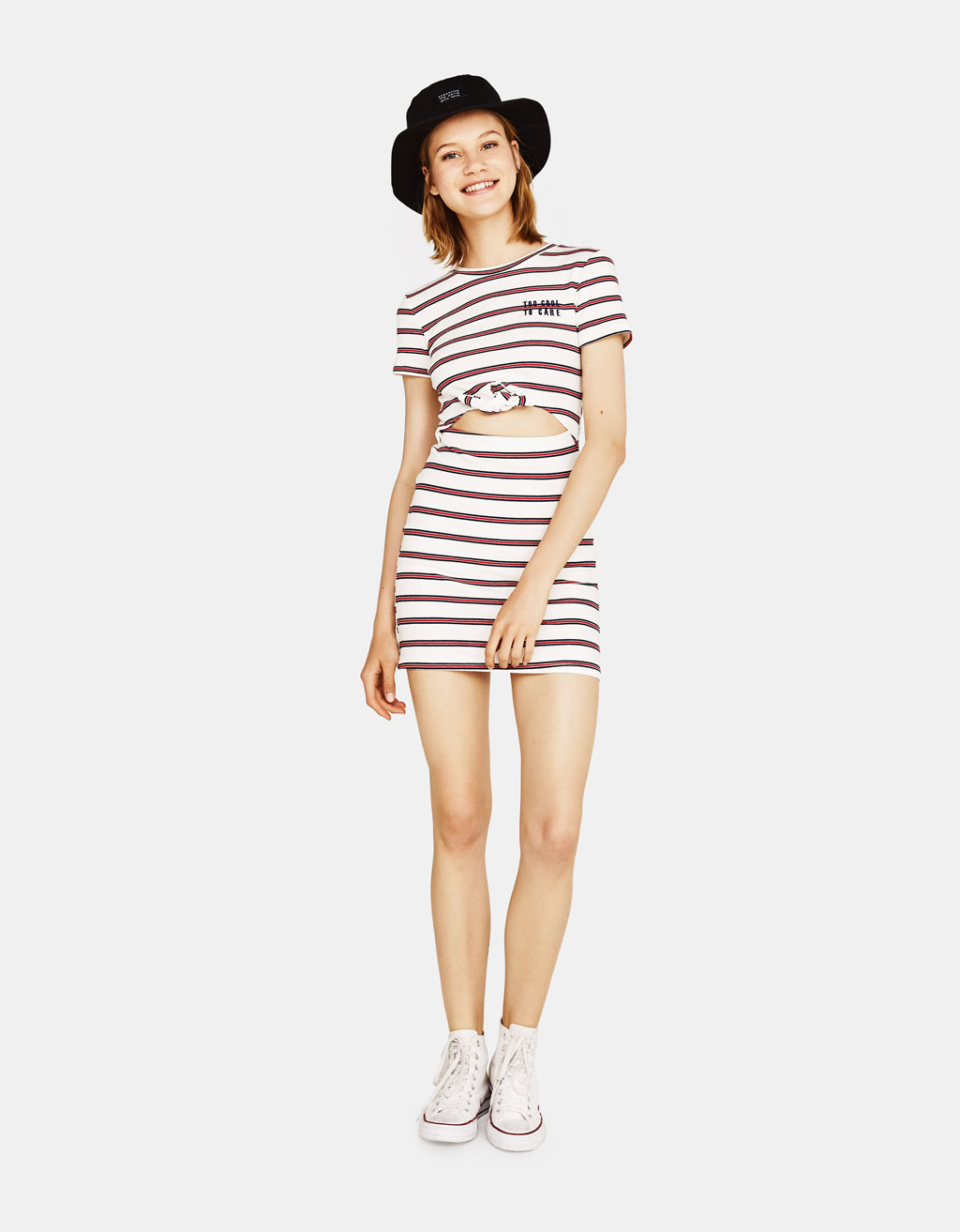 Striped dress with front knot