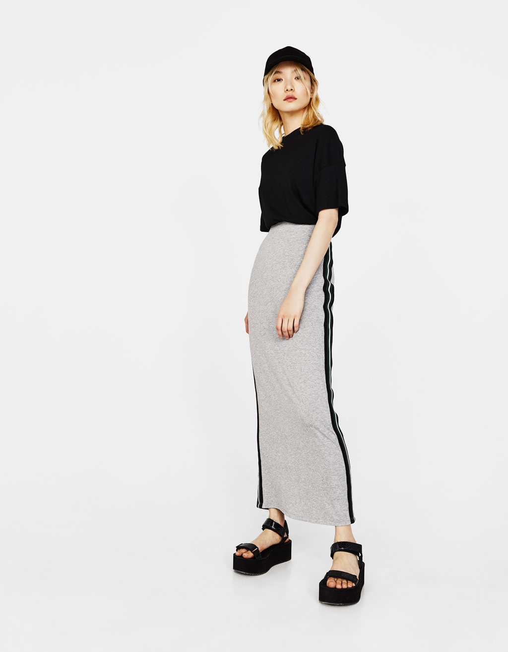 Long skirt with side bands