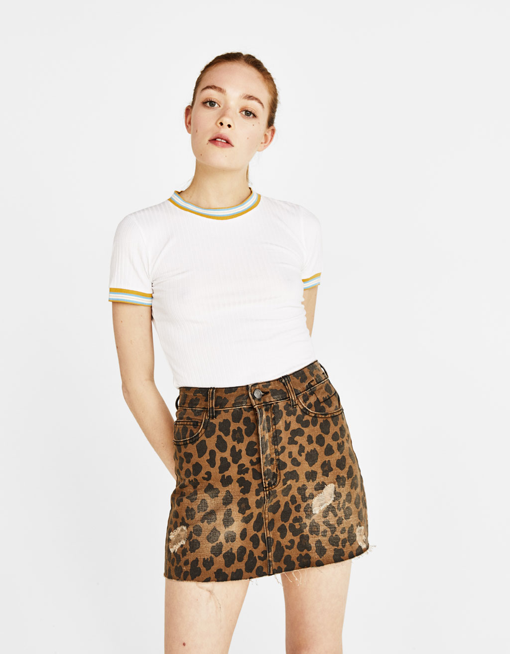 Leopard-print mini skirt