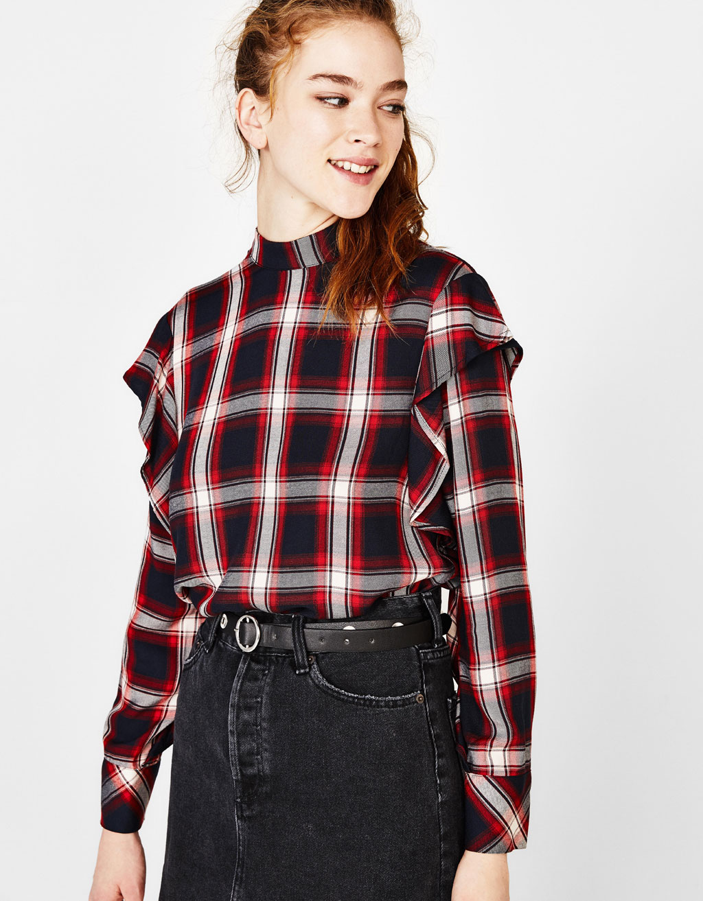 Checked shirt with ruffles