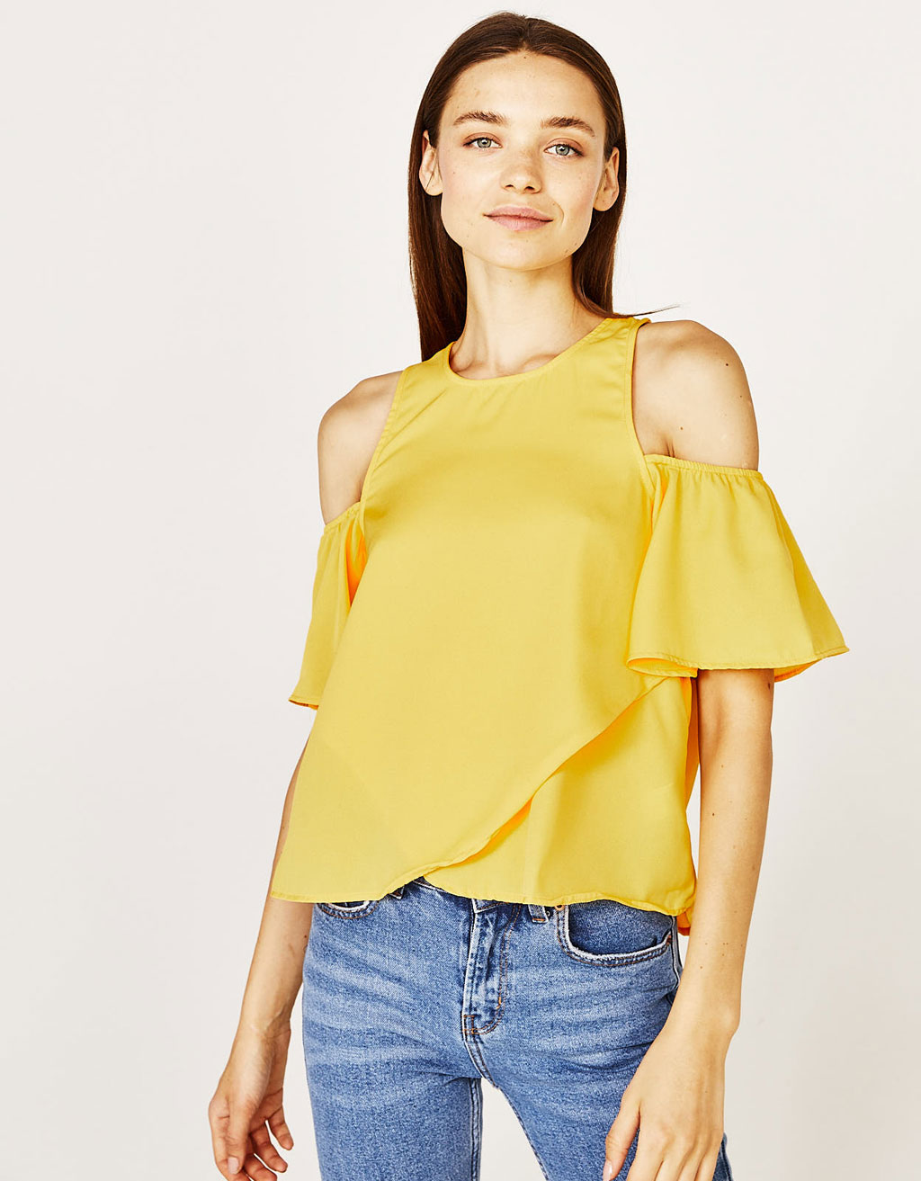 Bluse med off shoulder-ærmer