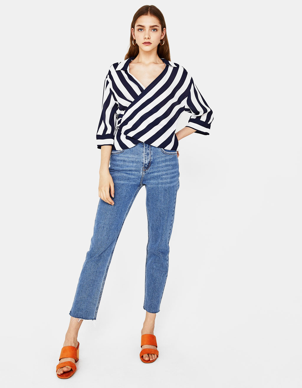 Striped shirt with belt