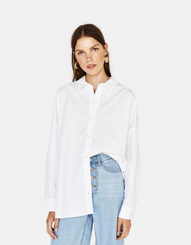 Oversize skjorte i poplin