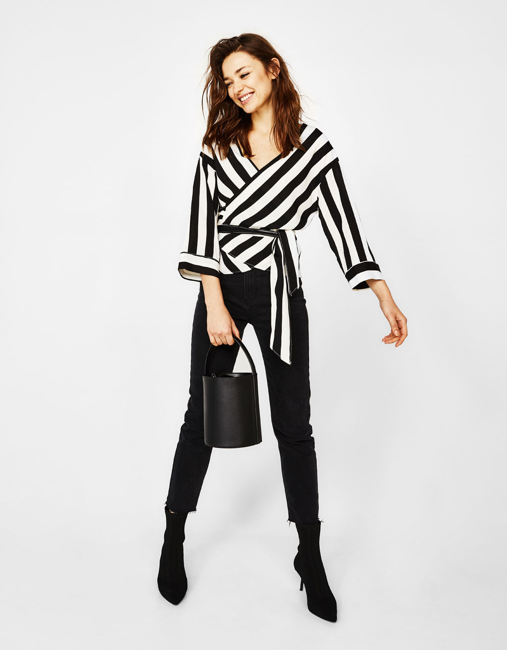 Striped blouse with crossover neckline