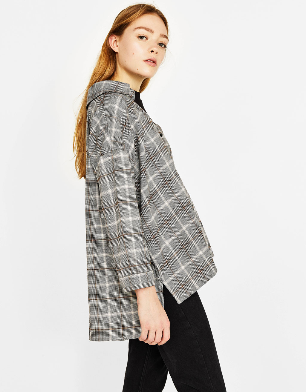 Oversized checked shirt with top
