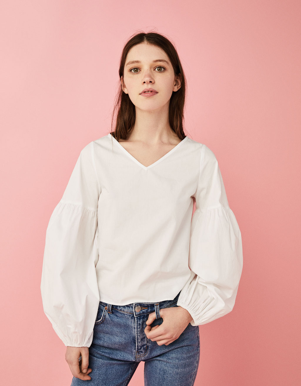 Poplin shirt with balloon sleeves