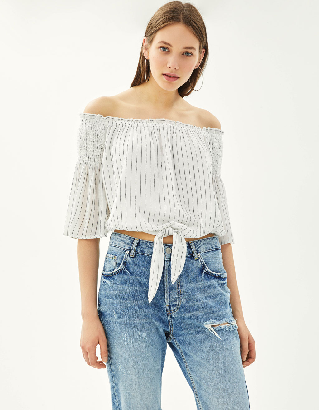 Off-the-shoulder blouse with knot detail