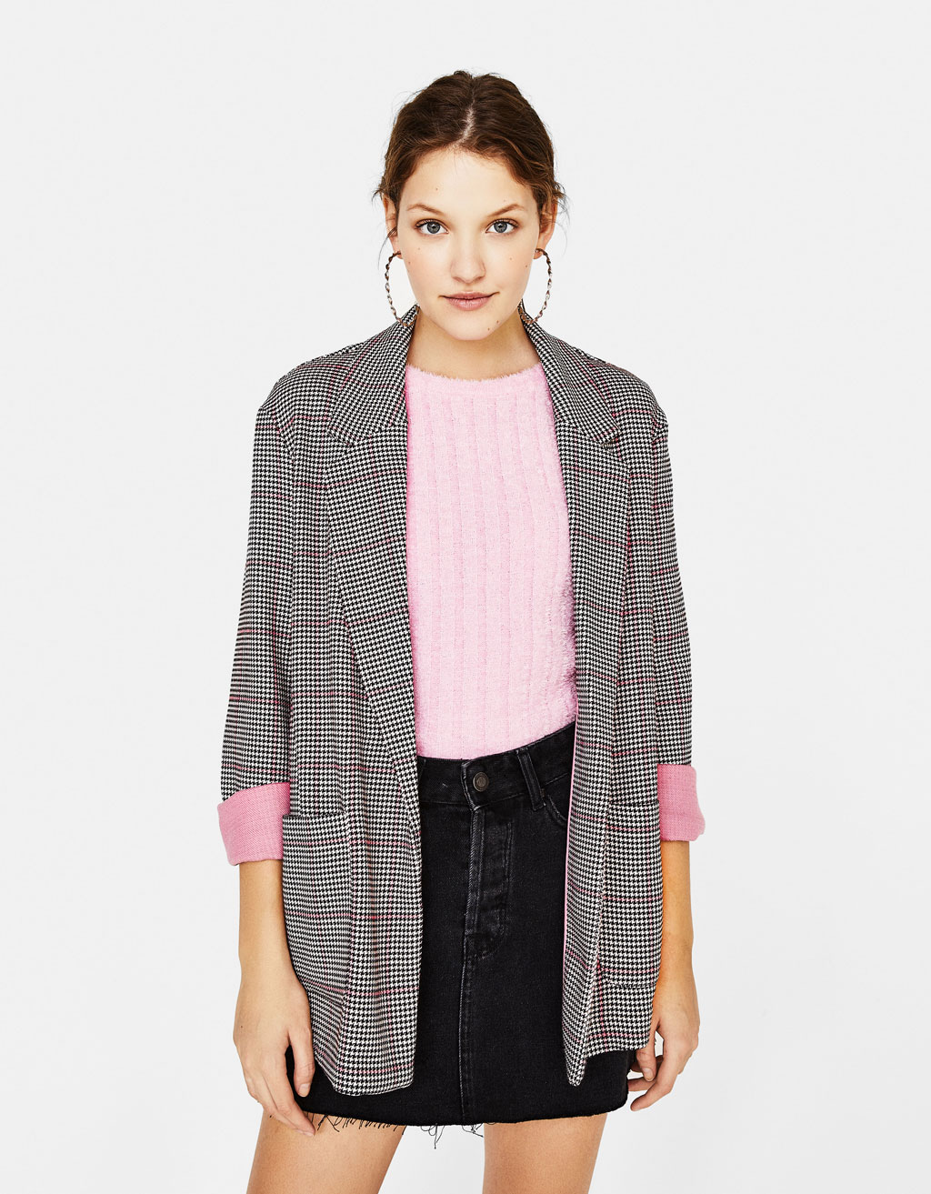 Contrast checked blazer