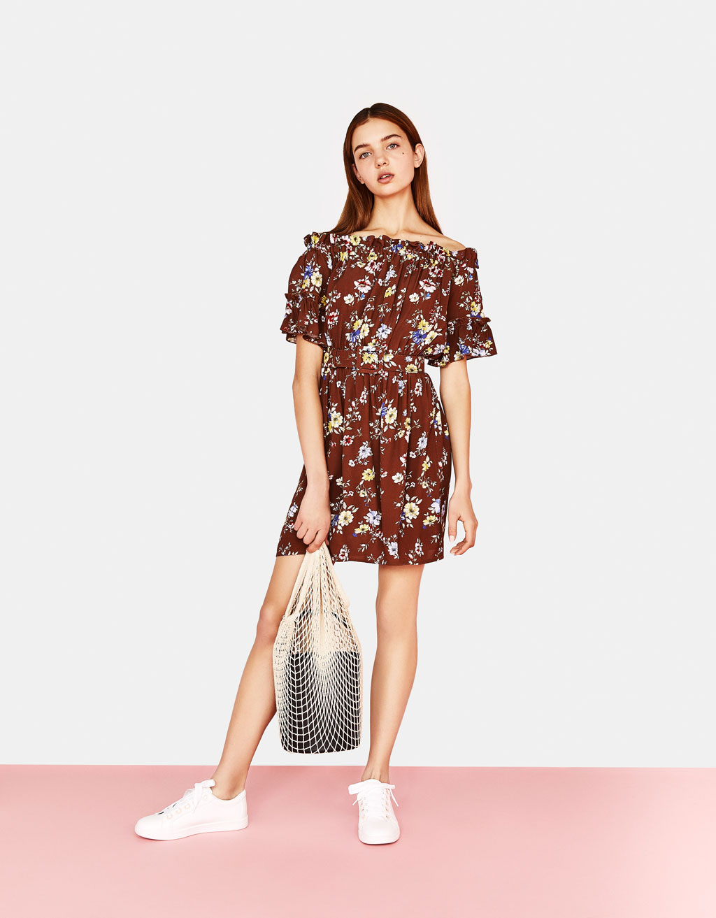 Printed off-the-shoulder dress