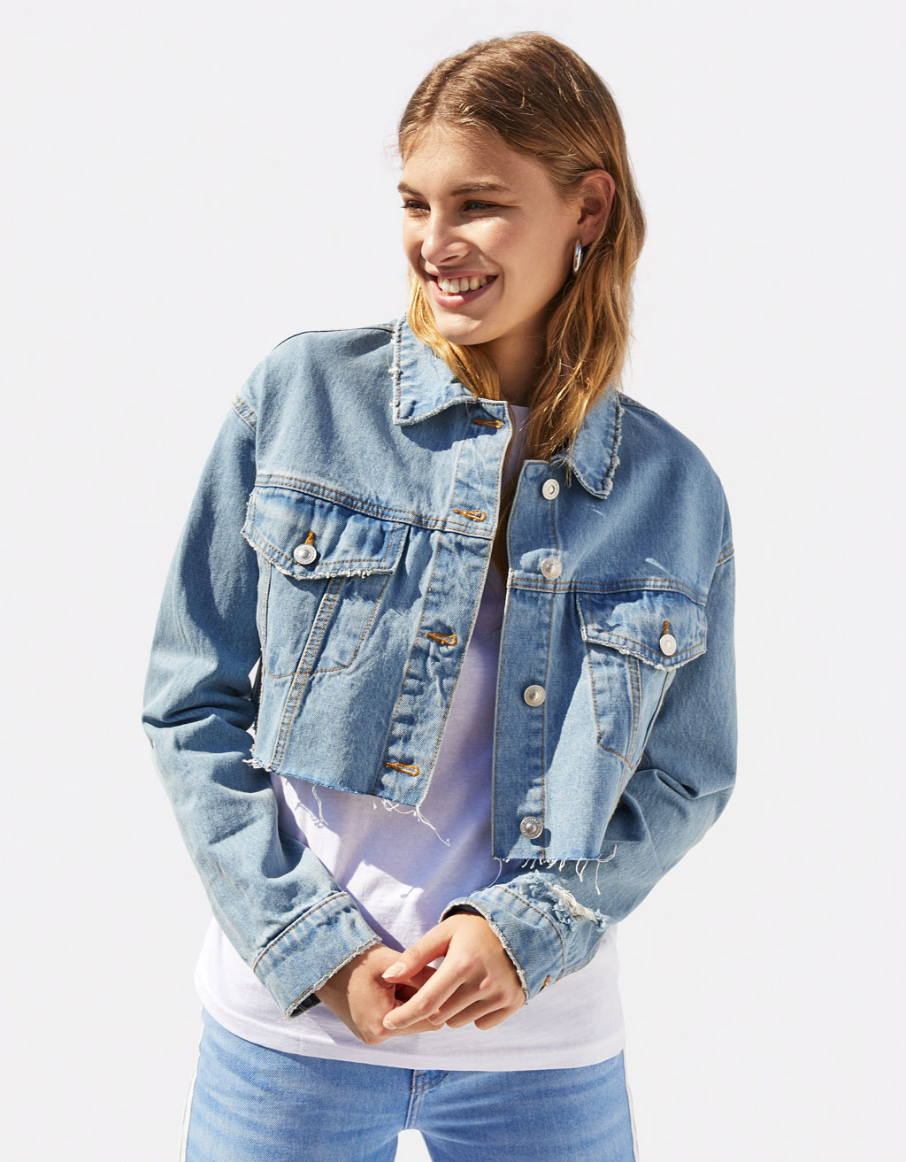 Cropped denimjakke